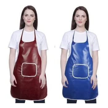 Yazlyn Collection Rexine Waterproof Kitchen Apron Multi Color with Front Pocket-Set of 2
