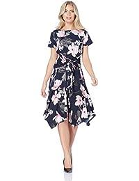 Roman Originals Robe Patineuse imprimé Floral Bleu - Femmes Tailles 38-48