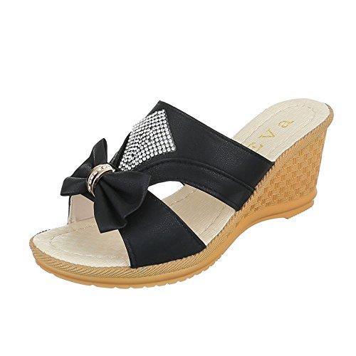 Ital-Design Pantoletten Damen-Schuhe Jazz & Modern Keilabsatz/Wedge Strass Besetzte Sandalen/Sandaletten Schwarz, Gr 39, 8120-