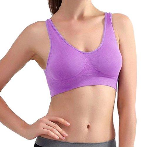 Hoerev double couche de de pull de sport soutien-gorge des femmes, soutien-gorge sans armature Violet