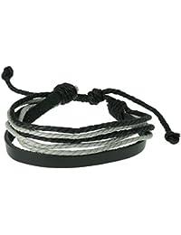 Urban Male - Bracelet cordons en cuir noir et gris, pour hommes.