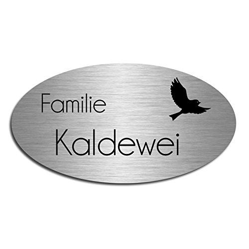 Edelstahl Türschild mit Gravur | Namensschild Briefkastenschild selbstklebend oder mit Bohrlöcher Schild 15x8 cm oval Schild für die Haustür mit Namen