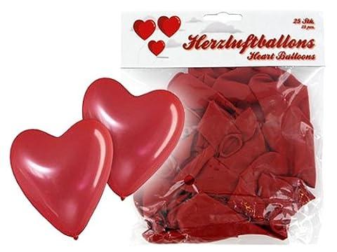 'Lot de 25 ballon de baudruche en forme de coeur rouge La décoration incontournable pour toute fête d''anniversaire de mariage ou soirée de Saint Valentin. Le ballon en forme de coeur accompagnera de très belle manière un cadeau romantique ou une demande en marriage, parfait pour décorer vos événements sur le thème de l'amour baptême fille surprise femme amoureuse