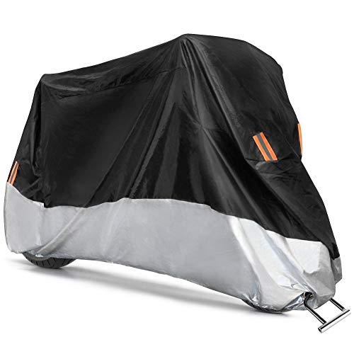 COFIT Telo per Moto, Coprimoto Impermeabile Antipolvere, Anti UV, Anti Vento, con Fori di Bloccaggio - 265*105*125cm XXL
