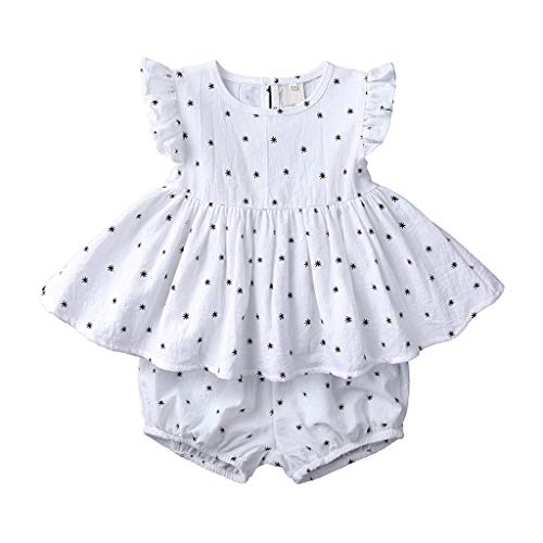 LEXUPE Infant Baby Kid Girl Ruffle Print ärmellose Oberteile + Brot Shorts Outfits Set(Weiß,130)