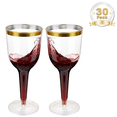 LOMOFI Verres à vin en Plastique| 50 Pcs - 300 ML Coupes à vin | Élégant Verre à vin en Plastique Transparent avec Bordure en d'or| Idéal pour Les Fêtes, Mariages ou Autres Occasions