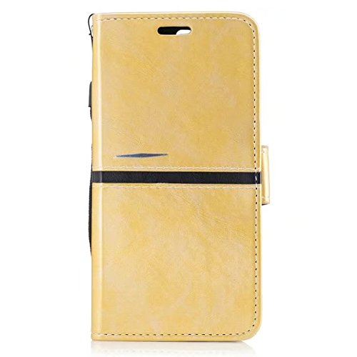 EKINHUI Case Cover Echtes Qualitäts-elegantes PU-Leder-Schlag-Standplatz-Fall-Abdeckung mit Lanyard und Karten-Schlitzen für OnePlus 5 ( Color : Red ) Gold