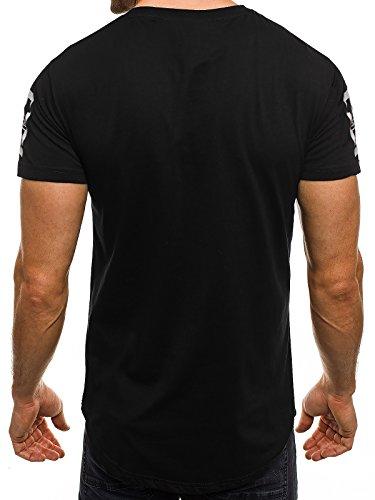 OZONEE Herren T-Shirt mit Motiv Kurzarm Rundhals Figurbetont J.STYLE SS154 Schwarz