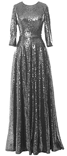 MACloth Women 3/4 Sleeve Sequin Evening Gown Vintage Mother of the Bride Dress Grau