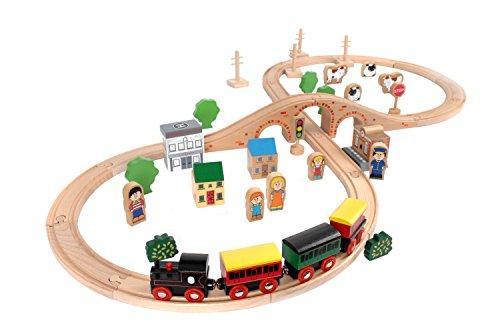 tidlo-wooden-train-set-50-pieces