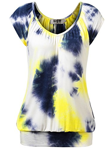 DJT Damen Casual Tunika Kurzarm Langarm T-Shirt Falten Tops mit Stretch V-ausschnitt Gelb