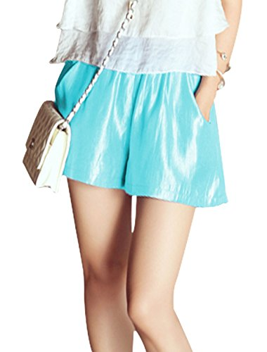 Lady Schick Gummibund Zwei Neigung Taschen Shorts - Himmelblau, Damen, XS (EU 32) (Hoch Steigen Taille)