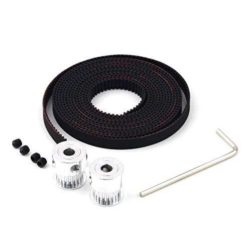 LouiseEvel215 RepRap 2X GT2 20T 5mm Poleas de orificio y 2M Juego de correas dentadas para impresora 3D Prusa (Para Juegos Llaves)