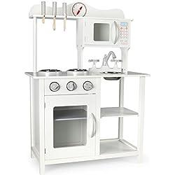 Moderno Cocina Madera Infantil Cocina de Juguete Accesorios Para Niñas Dimensiones: 60x30x85 Cocinita Reloj Microonda Grifo y Fregadero Cubiertos de Madera Utensilios de Cocina Color Blanco White
