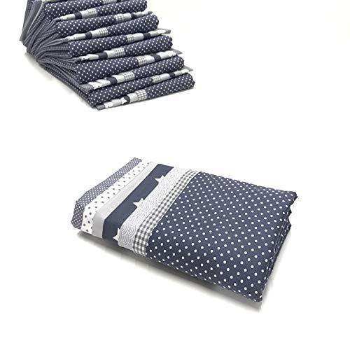 Baumwollstoff Stoffpaket grau Patchwork-Stoffe 7 Stück á 45 x 45cm Fat Quarter (Quarter-muster Fat)