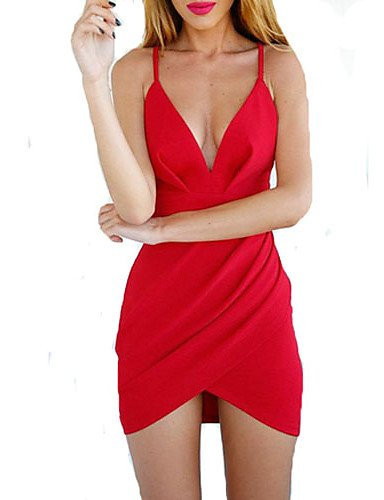 PU&PU Robe Aux femmes Moulante Sexy , Couleur Pleine A Bretelles / V Profond Au dessus du genou Mélanges de Coton red-l