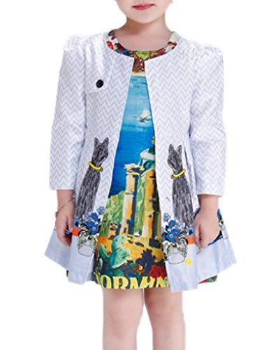 Smile YKK Rundhals Long Sleeve Modern Mit Gürtel Geblümt Kind Mädchen Outwear Jacke Mantel Trenchcoat Blazer Bunt 110 (Geblümter Gürtel)