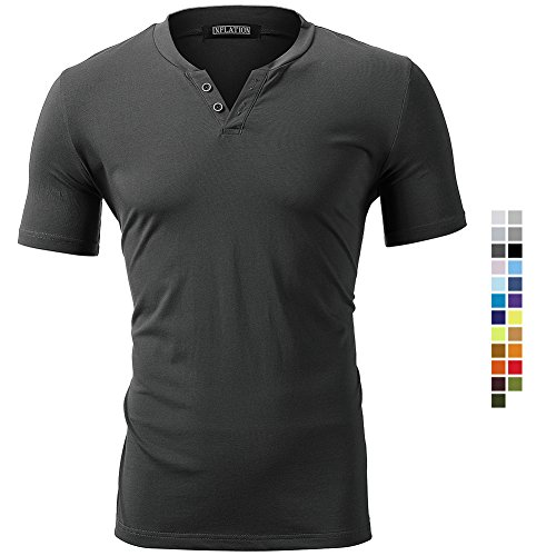 Herren T-Shirt Kurzarm Shirt Short Sleeve Top Tee Casual Basic O-Neck V-Neck mit Knopf Knöpfe Rundhalsausschnitt Plain Regular Fit Frühling Sommer Einfarbig,Anthrazit Grau,Small -