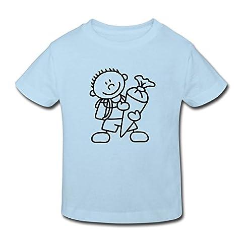 Einschulung Erster Schultag Kinder Bio-T-Shirt von Spreadshirt®, 122/128 (7-8 Jahre), Hellblau