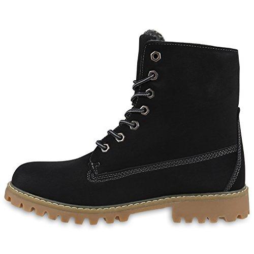 Warm Gefütterte Worker Boots Damen Outdoor Stiefeletten Bequem Schwarz Hellbraun
