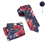 MENSOME Solid Men's Navy Blue Neck tie with Flower brooch and Pocket Square gift set