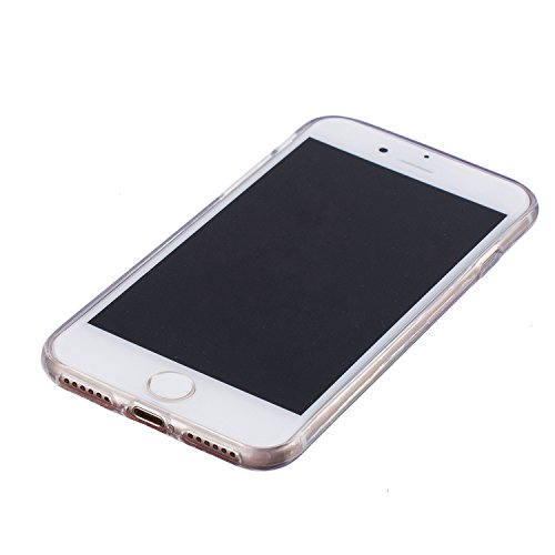 """Für iPhone 7 4.7"""" [Scratch-Resistant] Weichem Handytasche Weich Flexibel Silikon Hülle,Für iPhone 7 4.7"""" TPU Hülle Back Cover Schutzhülle Silikon Crystal Kirstall Durchschauen Clear Case,Funyye Stilvo Sonnenblume,Schwarz"""