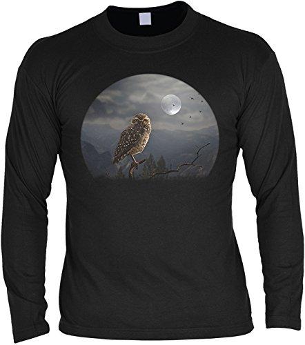 Eule Owl in the Moonlight HALLOWEEN Shirt - Langarm Shirt für Halloween - Moonlight Halloween
