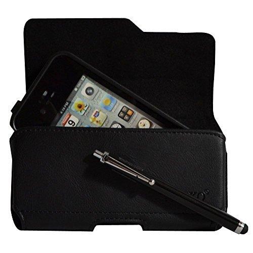 kuteck® Schwarz Leder Gürtel Tasche Clip passt für iPhone 44S w/OtterBox/Lifeproof/Mophie Juice Pack Air/Plus Fall auf. Inkl. schwarzer Eingabestift (Fällen Iphone 4s)