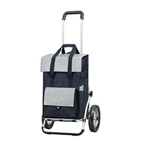 Sondermodell Andersen Einkaufstrolley Royal & Einkaufstasche Milla blau | Einkaufswagen mit großen Metallspeichen-Rädern | Trolley Gestell Aluminium klappbar