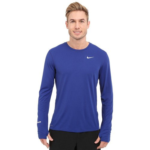 Nike Herren Langarm Shirt Dri-Fit Contour, Deep Royal Blue, L, 683521-455 (Kurzarm-t-shirt Dri-mesh)