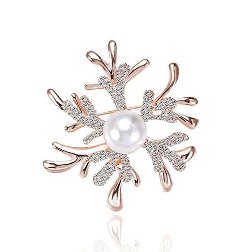 Vergoldet Brosche Damen Elche Geweihe Strass Koralle Kristall Schneeflocken CZ Weiß Perlen Broschen Rose Gold Geschenk (Rose Gold(Weiß)) (Elch-brille)