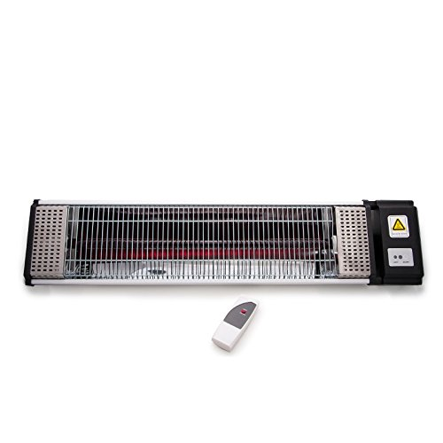 Airel estufa eléctrica de infrarrojos con lámpara de rubí de onda media de 1500w y mando a distancia. Ideal para terrazas, bares y porches. Decora, calienta y ahorra.