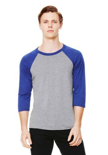 Bella Canvas Triblend 3/4 Sleeve Baseball T-Shirt - Grey/Navy Tri-Blend - XL (T-shirt Emo Cool)