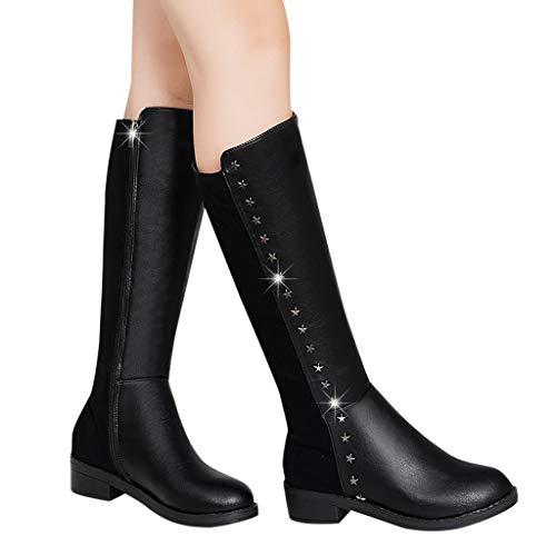 Iwähle)♥ Mode Reine Farbe runde Kappe Slip-On Stiefel Chunky Heels Vintage Frauen Stiefel (39) -
