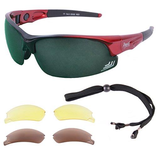 Rapid Eyewear 'Edge' Rot POLARISIERTE GOLFBRILLE Mit Wechselgläser x 3. Für Herren und Damen. Golf Sonnenbrille Mit Blendschutz UV 400 Gläsern
