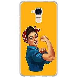 BJJ SHOP Étui Transparent pour [ Huawei GT3 / Honor 5C ], Coque en Silicone Souple TPU, Design: Femme indépendante Forte, pin-up