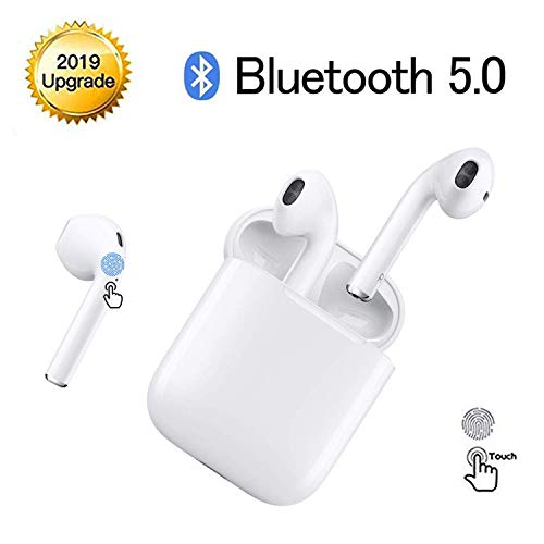 hijinhuiba Cuffie Bluetooth,Auricolari Bluetooth 24h Playtime 3D stereo HD Cuffie Wireless, Binaurale Call auto Pairing,Con Scatola di Ricarica,Per Samsung / iPhone11 / Android/AirPods