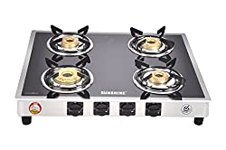 Sunshine 4 Burner Manual Ignition Toughened Glass ISI Certified Gas Stove