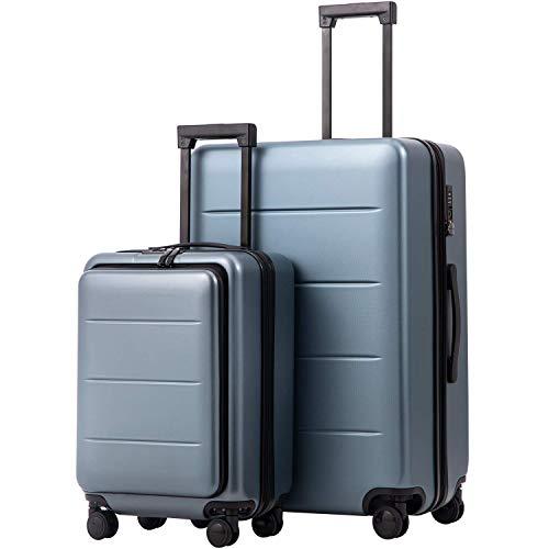 COOLIFE Business-Trolley Reisekoffer Vergrößerbares Gepäck (Nur Großer Koffer Erweiterbar) ABS+PC Material mit TSA-Schloss und 4 Stumm schalten Rollen...