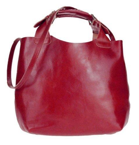 Print Hobo Bag Handtasche (Made in Italy 2 in 1 echt Leder Beuteltasche Shopper DIN-A4 Henkeltasche Tasche City Bag Schultertasche Umhängetasche Daisy16 35x30x15 cm (BxHxT) (Rot))