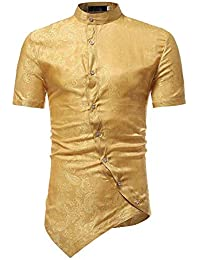 FIRSS Herren Kurzarmshirt   Muscle T-Shirt Unregelmäßiges Bluse Stehkragen  Slim Fit Sweatshirt Kurzarmhemd Vintage 621a2ae8e1
