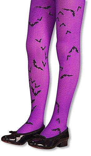 Kinder Fledermaus Strumpfhose violett für Fasching und Halloween (Vampirin Fledermaus)
