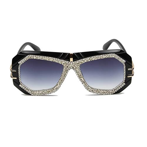 Taiyangcheng Polarisierte Sonnenbrille Oversize Pilot Sonnenbrille Frauen Vintage Strass Markendesigner Big Frame Gradient Lens Shades Für Frauen Oculos Weiblich,grau