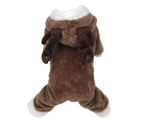 YARBAR inverno Elk Pet Costume del cane vestiti del cane con cappuccio cappotto sveglio Abbigliamento Pet