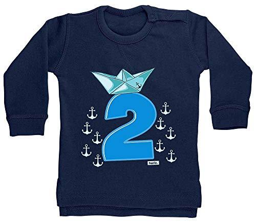 Pirat Schiff Hut 2 Geburtstag Kleinkind Plus Geschenkkarte Matrosen Dunkel Blau 24-36 Monate ()