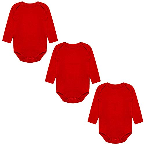 BINIDUCKLING Unisex Baby Mädchen Body Langarm 3er Pack Rot 18 Monate