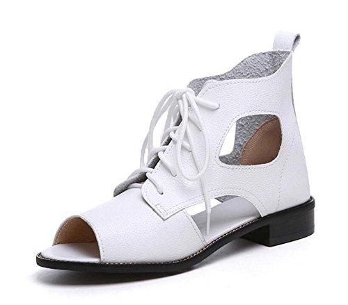 SHINIK Damen Peep Toe Pump 2017 Sommer neue Leder Hollow Stiefel Kopf Sandalen Kalt Stiefel 34-41 White