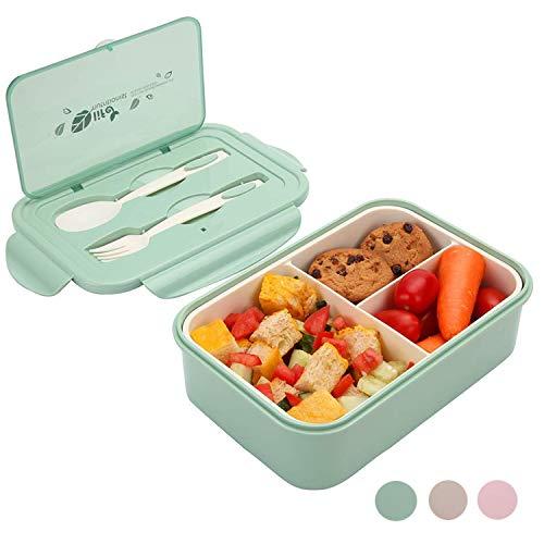 Meixi 1400ml bento box, lunch box, porta pranzo bento con 3 scomparti e posate contenitore per il pranzo ideale per colazione e snack scolastici per bambini e adulti (verde)