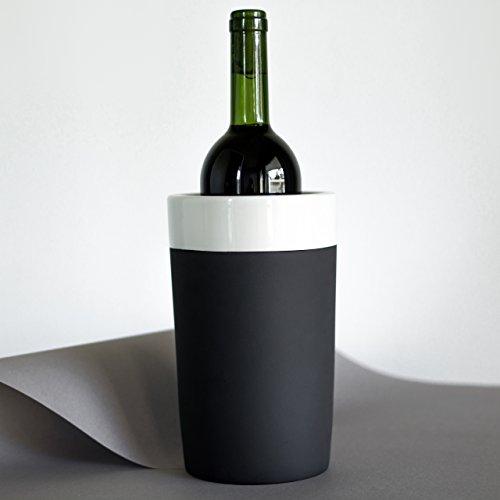 Magisso 70634 Selbst abkühlende Flaschenkühler, Keramik, Schwarz/weiß, 13 x 13 x 20.8 cm