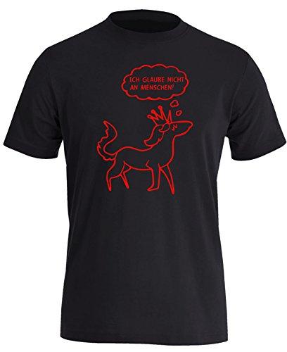 Ich glaube nicht an Menschen - Einhorn mit Krone - Herren Rundhals T-Shirt Schwarz/Rot